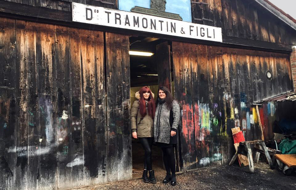The Tramontin sisters in front of the gondola boatyard, Venice.