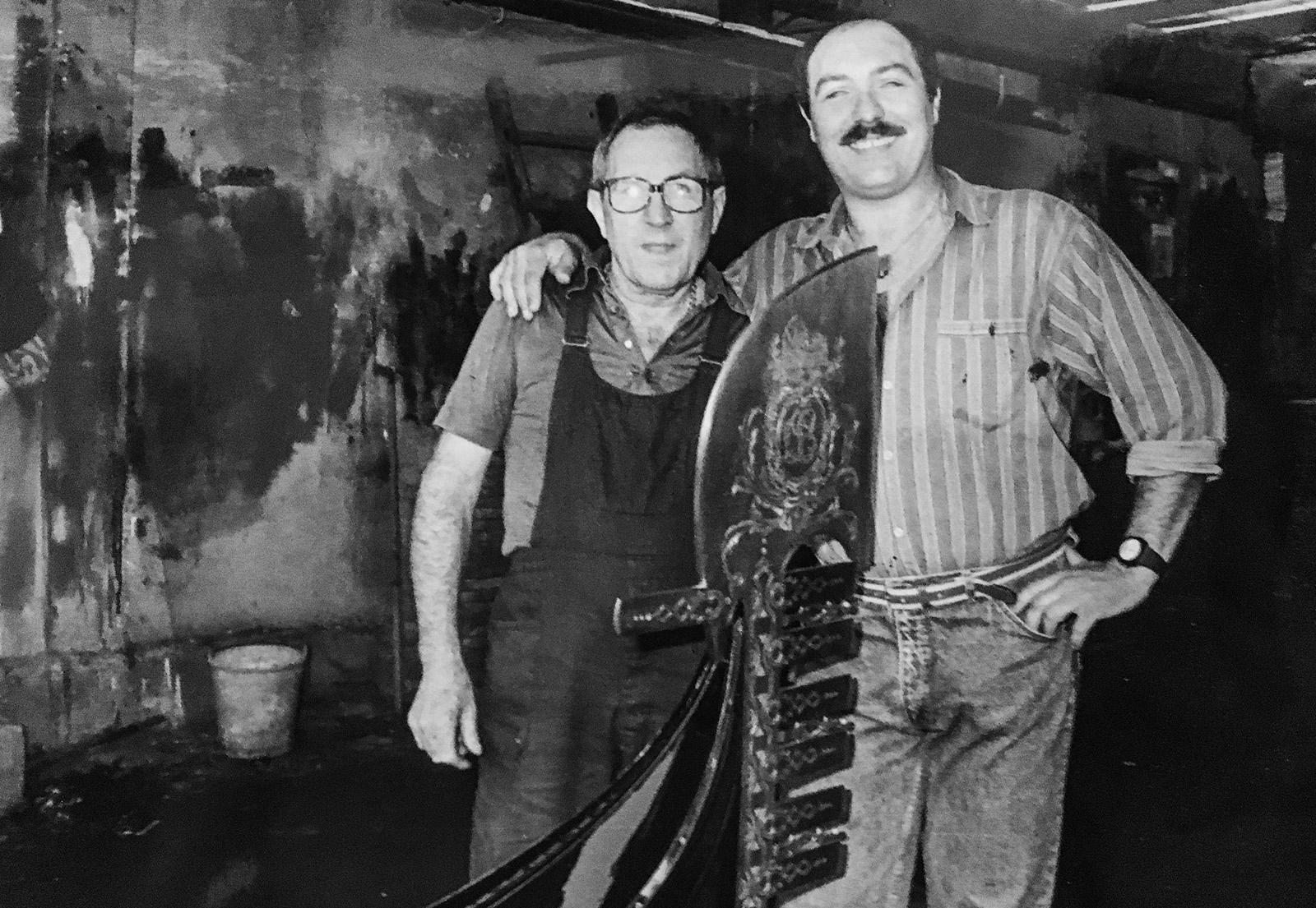 Nedis e Roberto Tramontin allo Squero Tramontin, Venezia